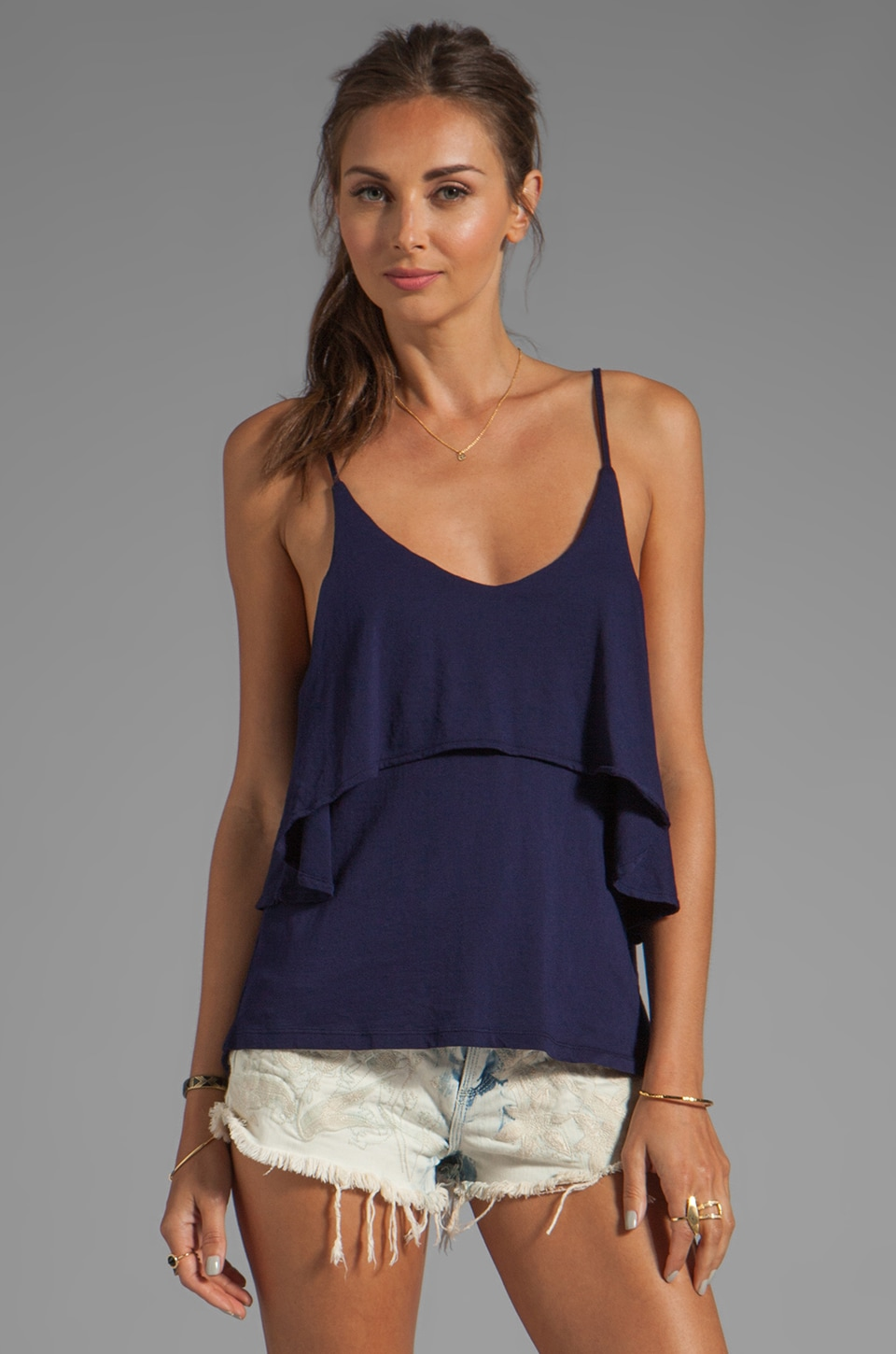 Bobi Light Weight Jersey Ruffle Tank in Yacht
