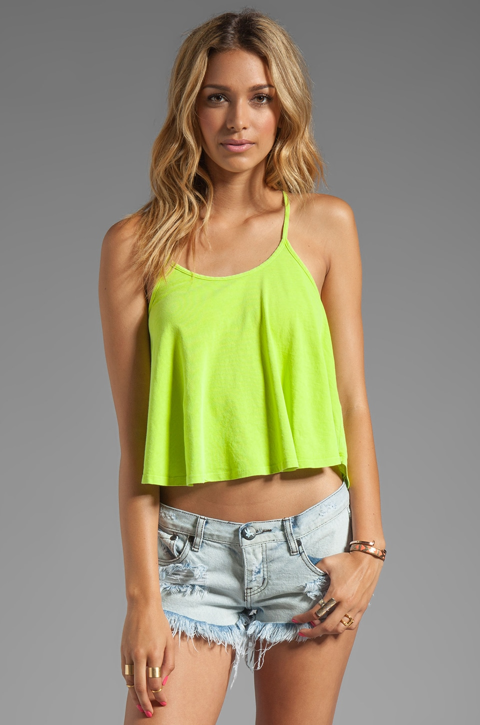 Bobi Light Weight Jersey Racer Tank in Yellowtail
