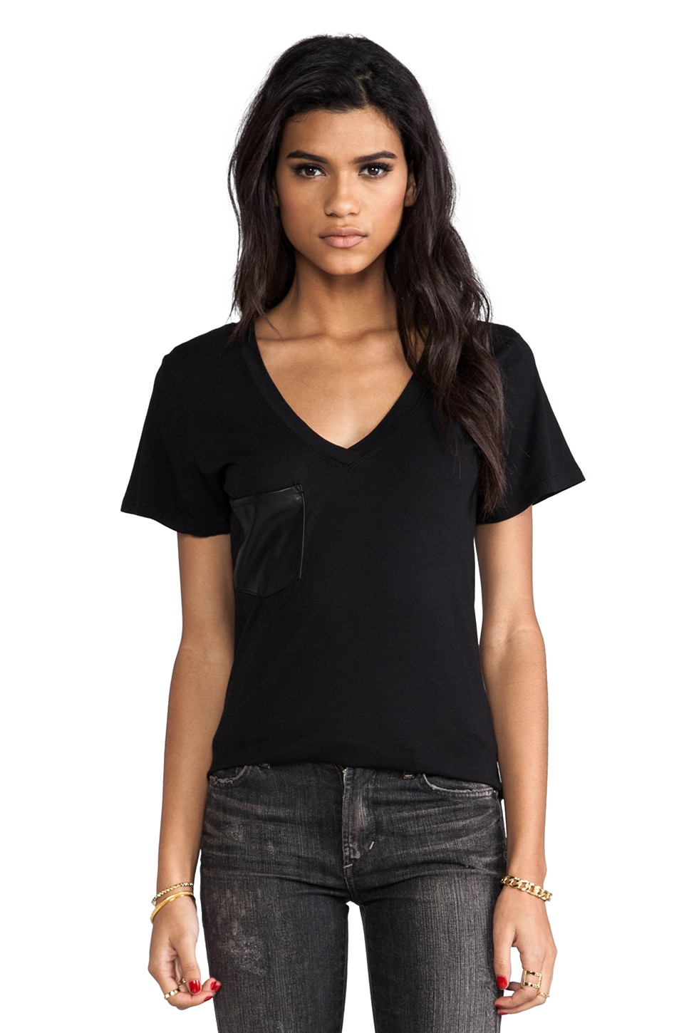 Bobi Supreme Jersey V-Neck Tee With Vegan Leather Pocket in Black