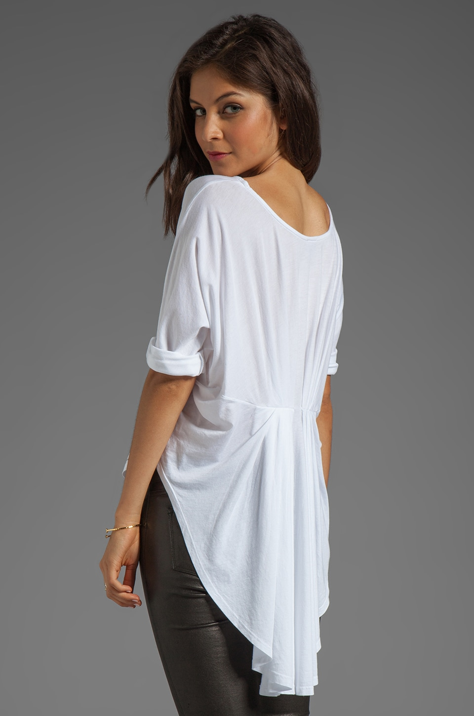 Bobi Short Sleeve High Low Tee in White