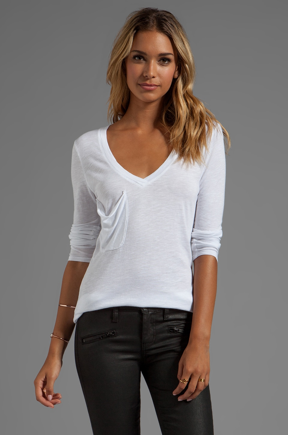 Bobi Slub Long Sleeve Pocket Tee in White
