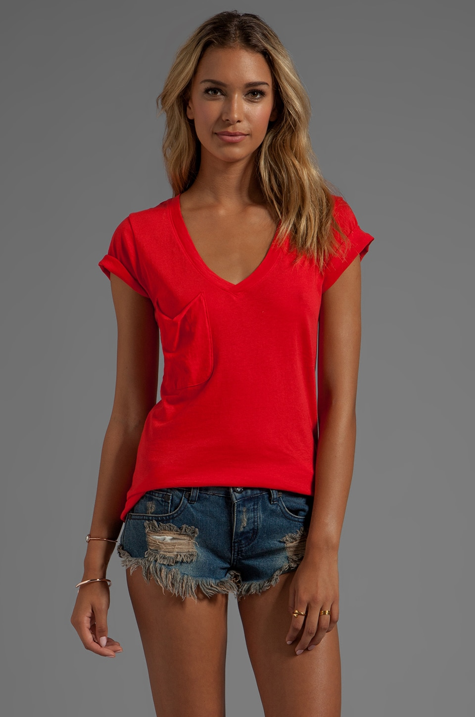 Bobi Light Weight Jersey Short Sleeve Pocket Tee in First Lady