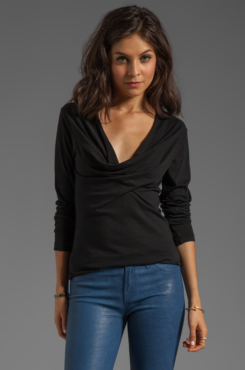 Bobi Light Weight Jersey Long Sleeve Cowl Neck Tee in Black