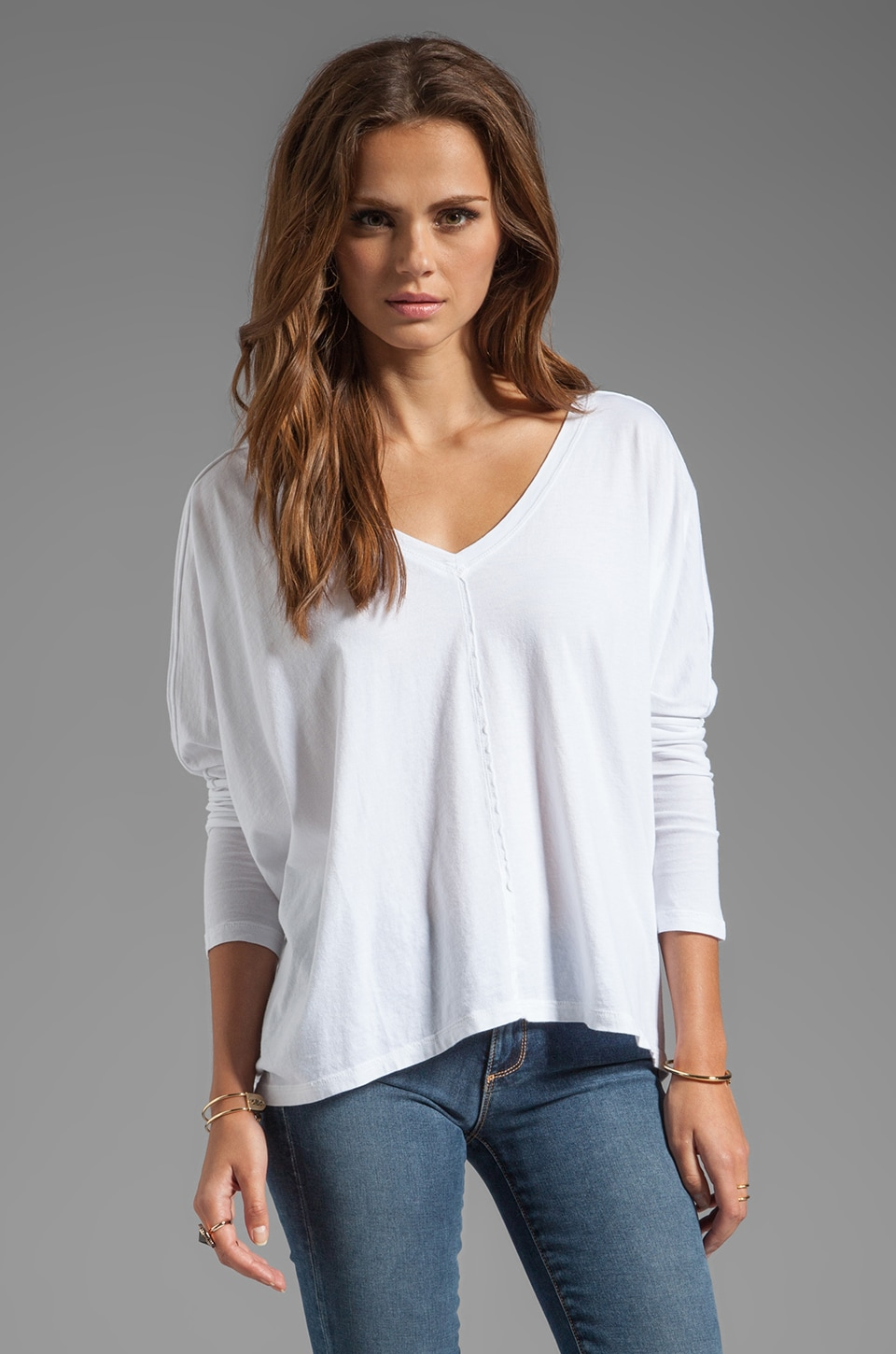 Bobi Supreme Jersey Dolman Top in White