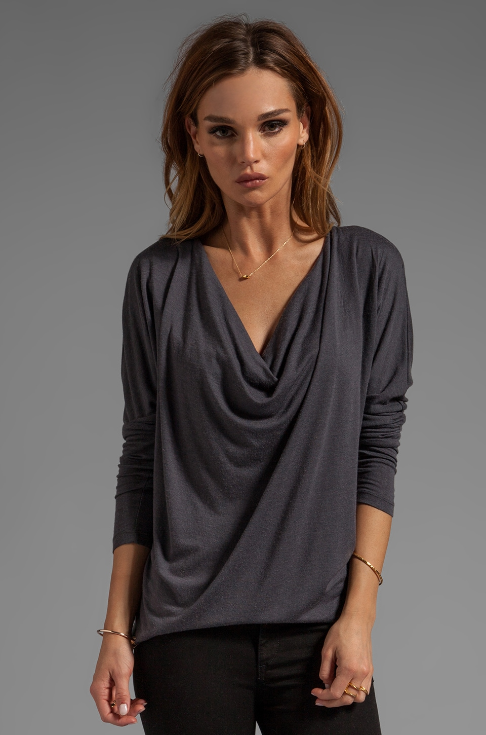 Bobi Long Sleeve Cowl Neck Tee in Empire