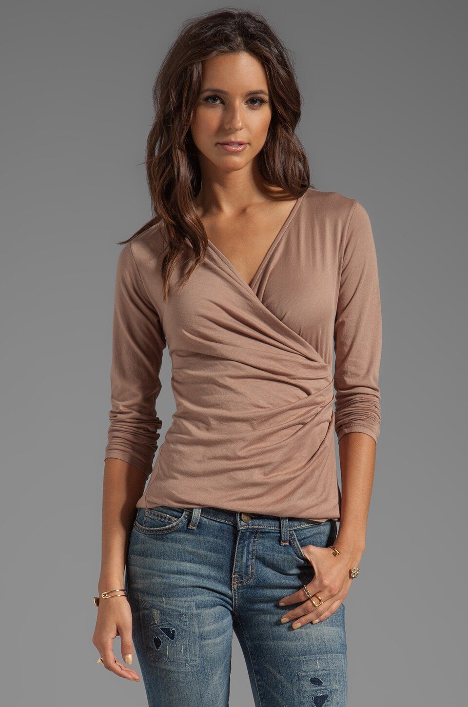Bobi Long Sleeve Wrap Top in Hyde