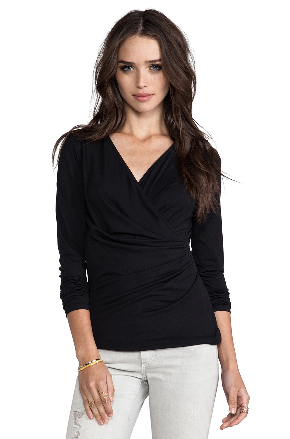 Bobi Long Sleeve Wrap Top in Black