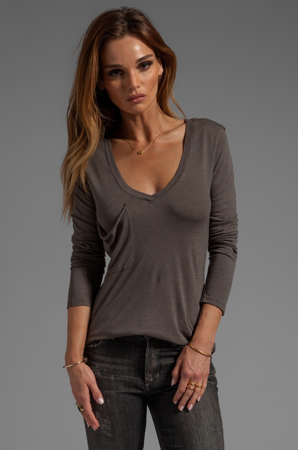 Bobi Slub Long Sleeve Pocket Tee in Mountain