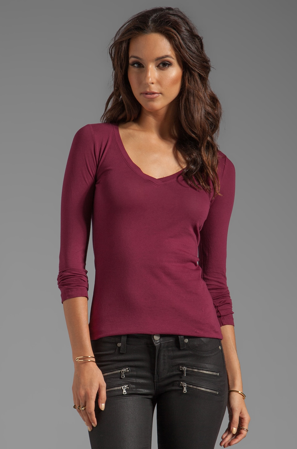 Bobi Light Weight Jersey Long Sleeve Tee in Merlot