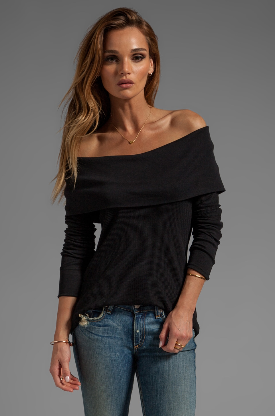 Bobi Thermal Cowl Neck Top in Black