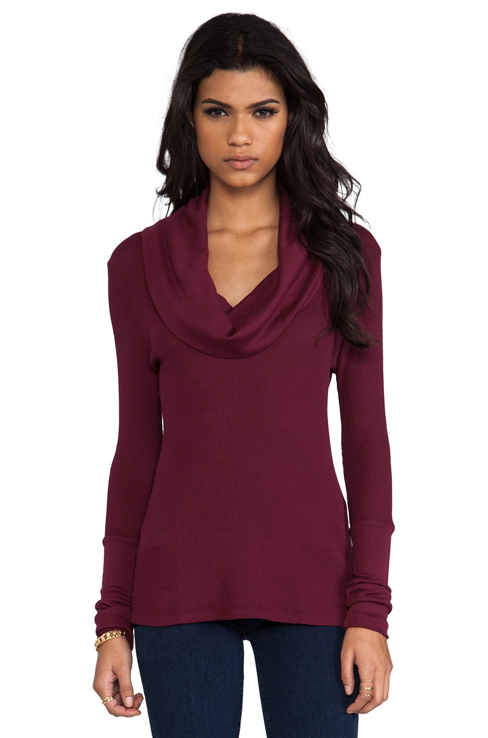 Bobi Thermal Cowl Neck Top in Merlot