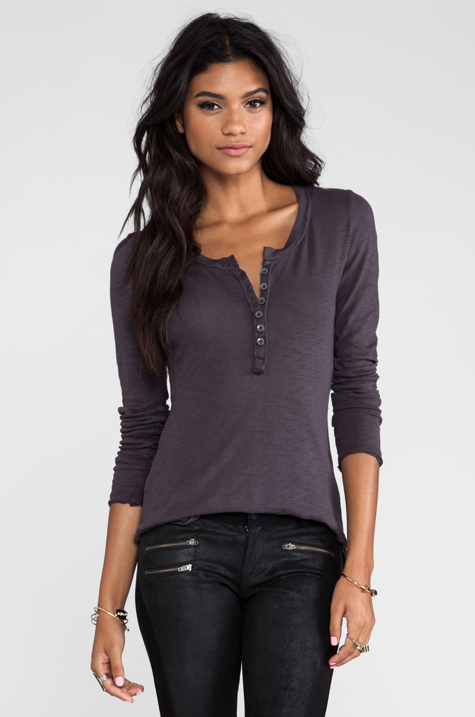 Bobi Long Sleeve Henley in Empire