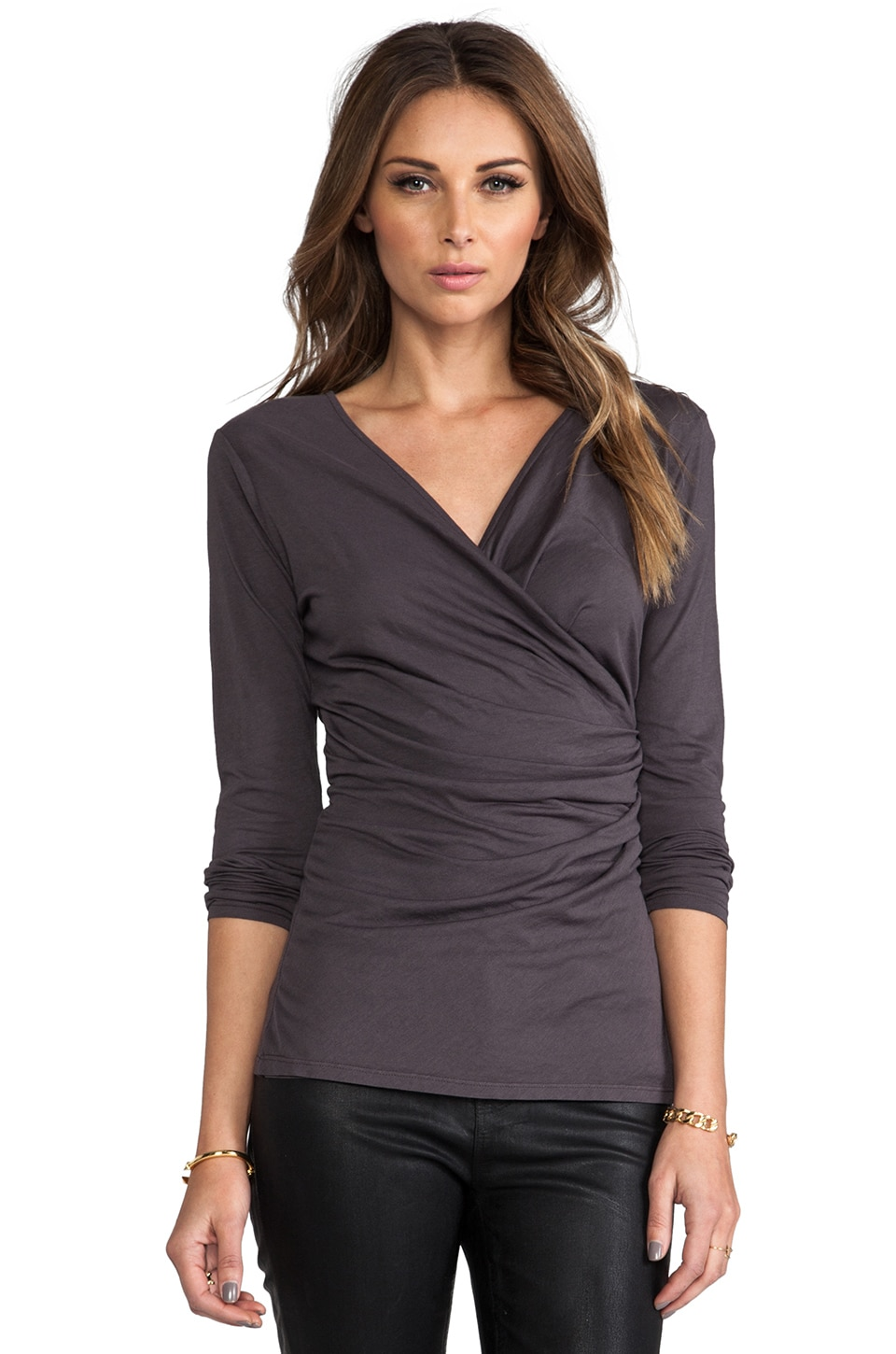 Bobi Long Sleeve Wrap Top in Empire