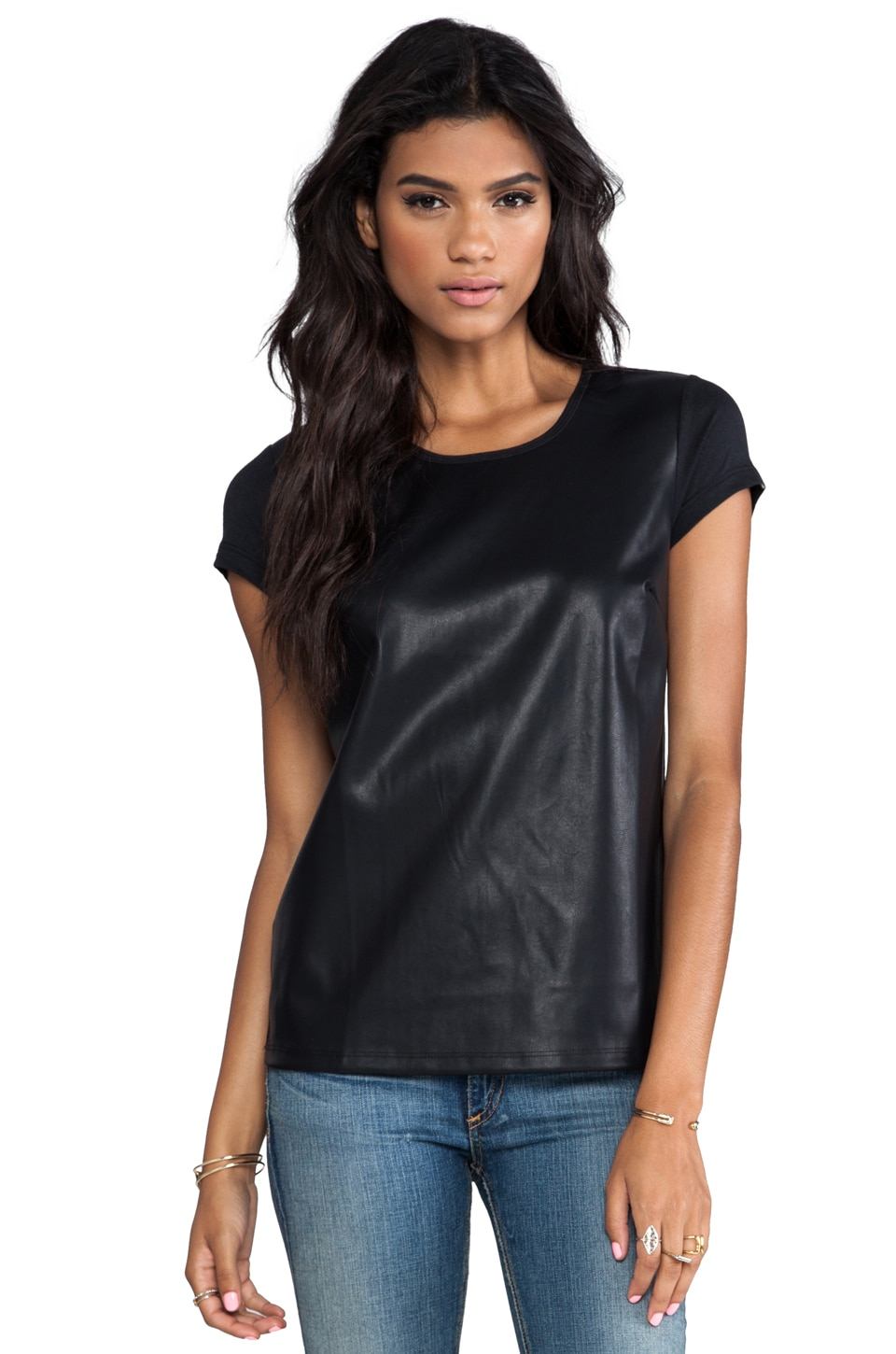 Bobi Faux Leather Front Tee in Black
