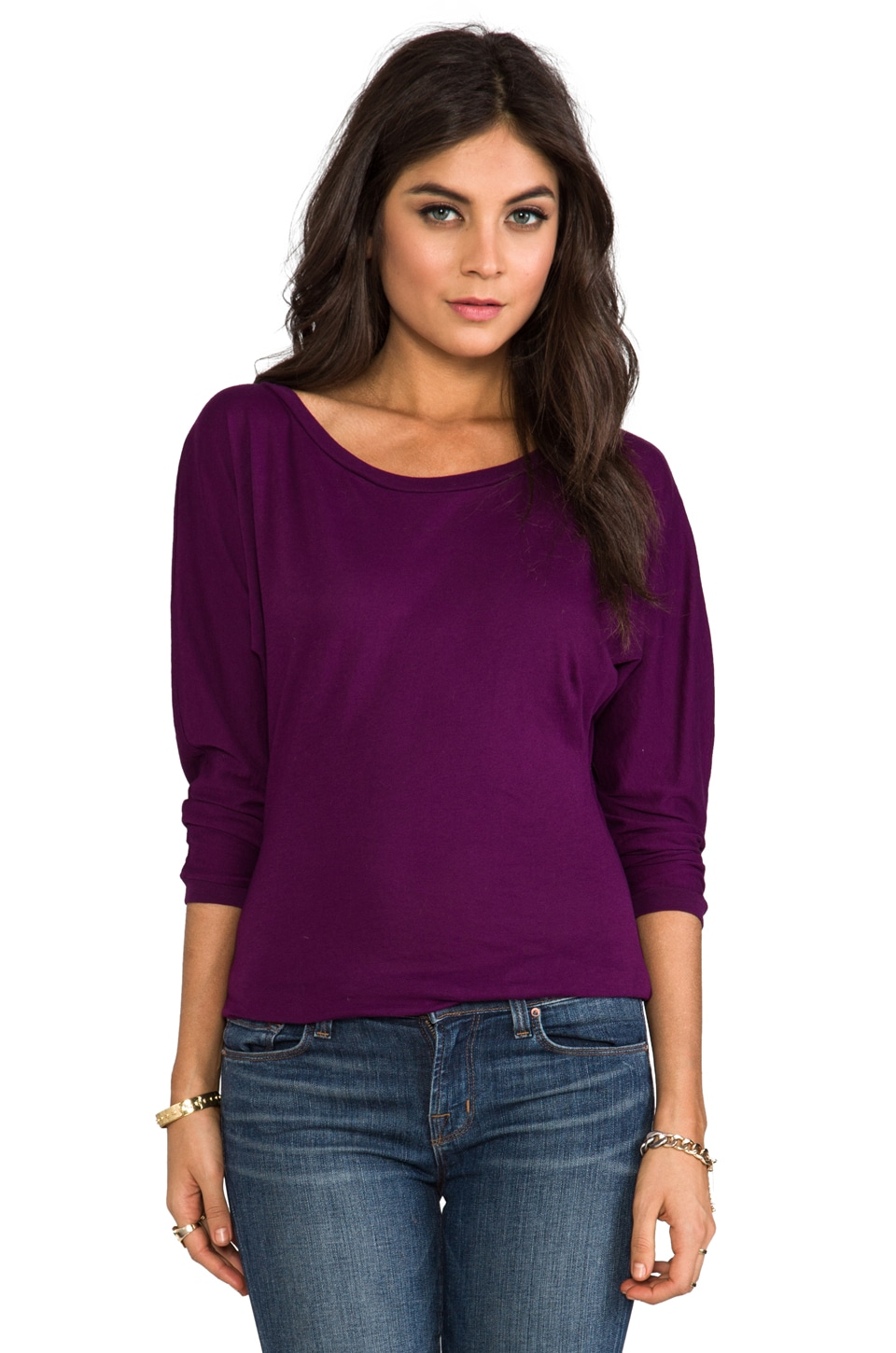Bobi Light Weight Jersey Boatneck Top in Imperial