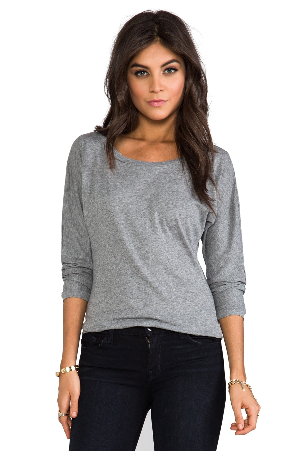 Bobi Light Weight Jersey Boatneck Top in Thunder