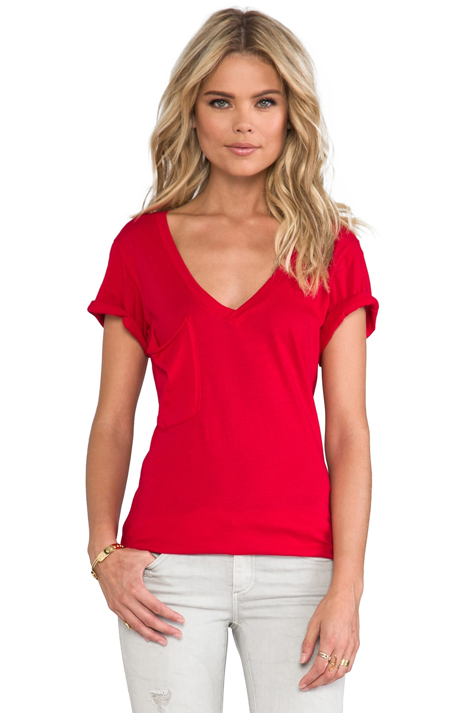 Bobi Lightweight Jersey Pocket Tee in Bella