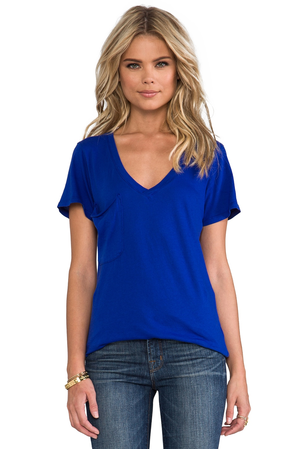 Bobi Lightweight Jersey Pocket Tee in Royal