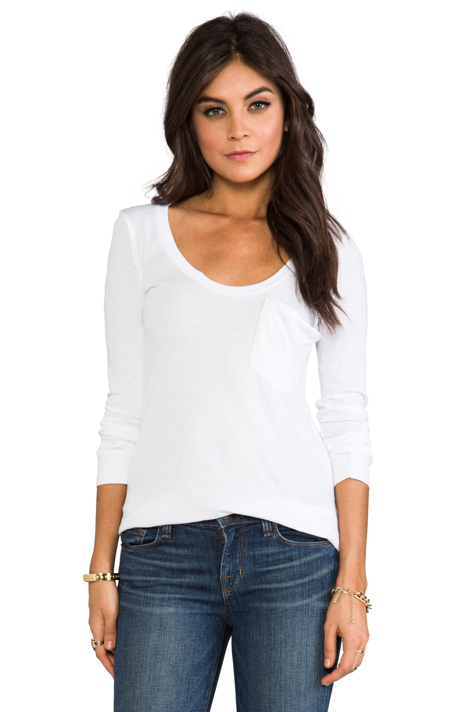 Bobi Lightweight Jersey Long Sleeve Pocket Tee in White