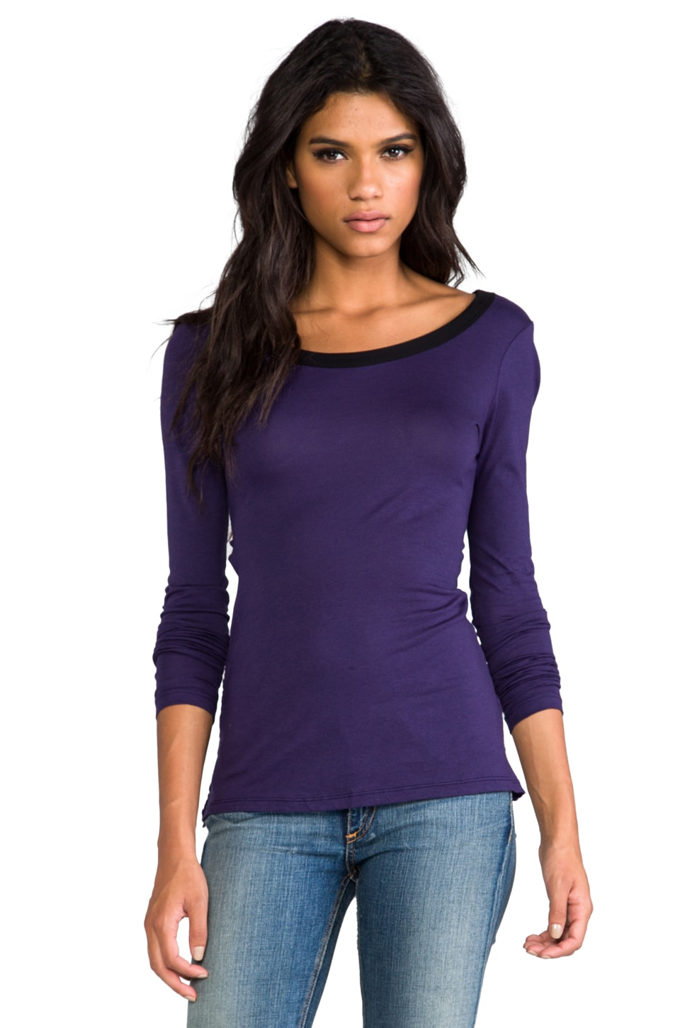Bobi Mesh Open Back Long Sleeve in Knight