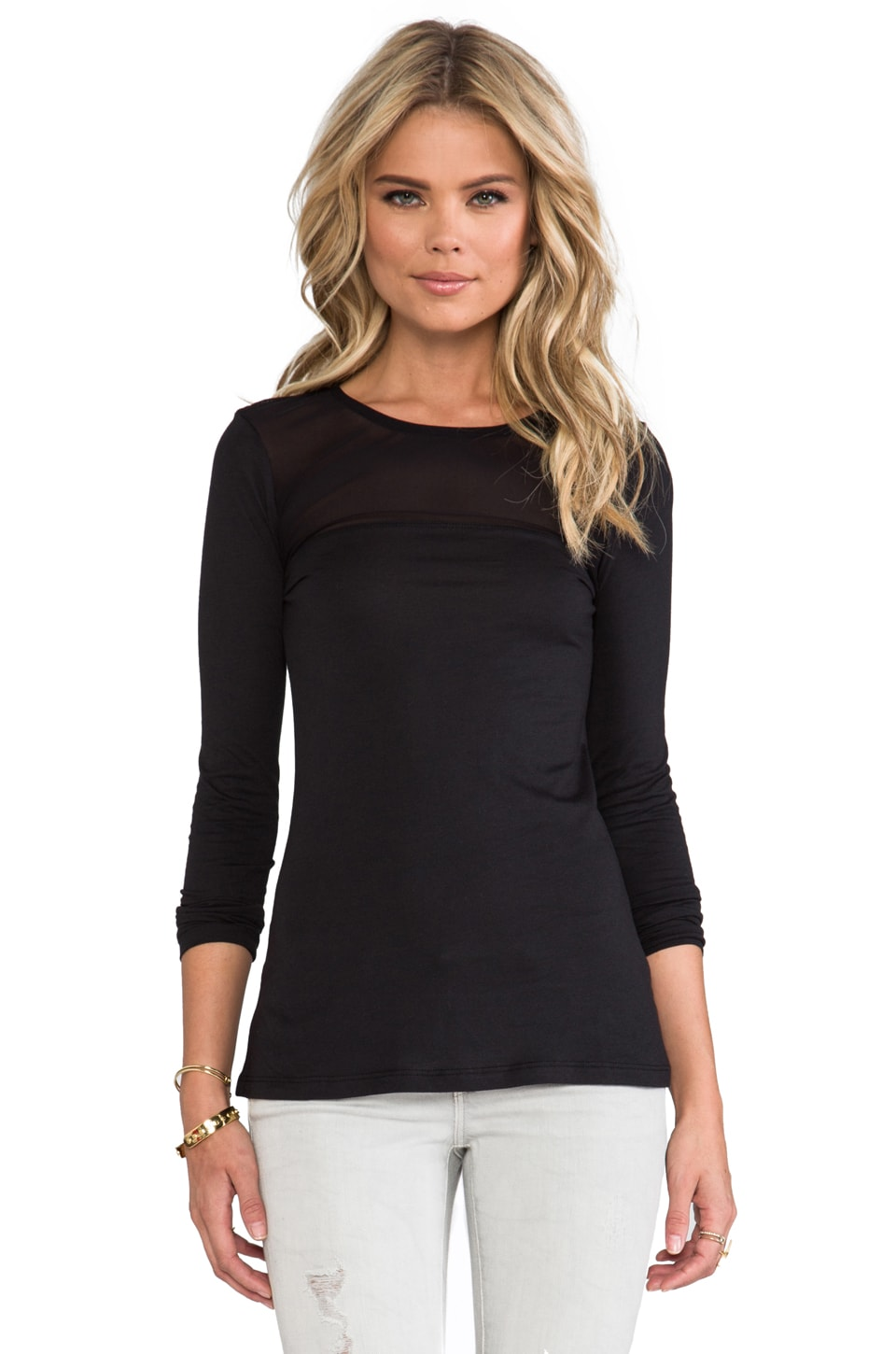 Bobi Mesh Long Sleeve Tee in Black