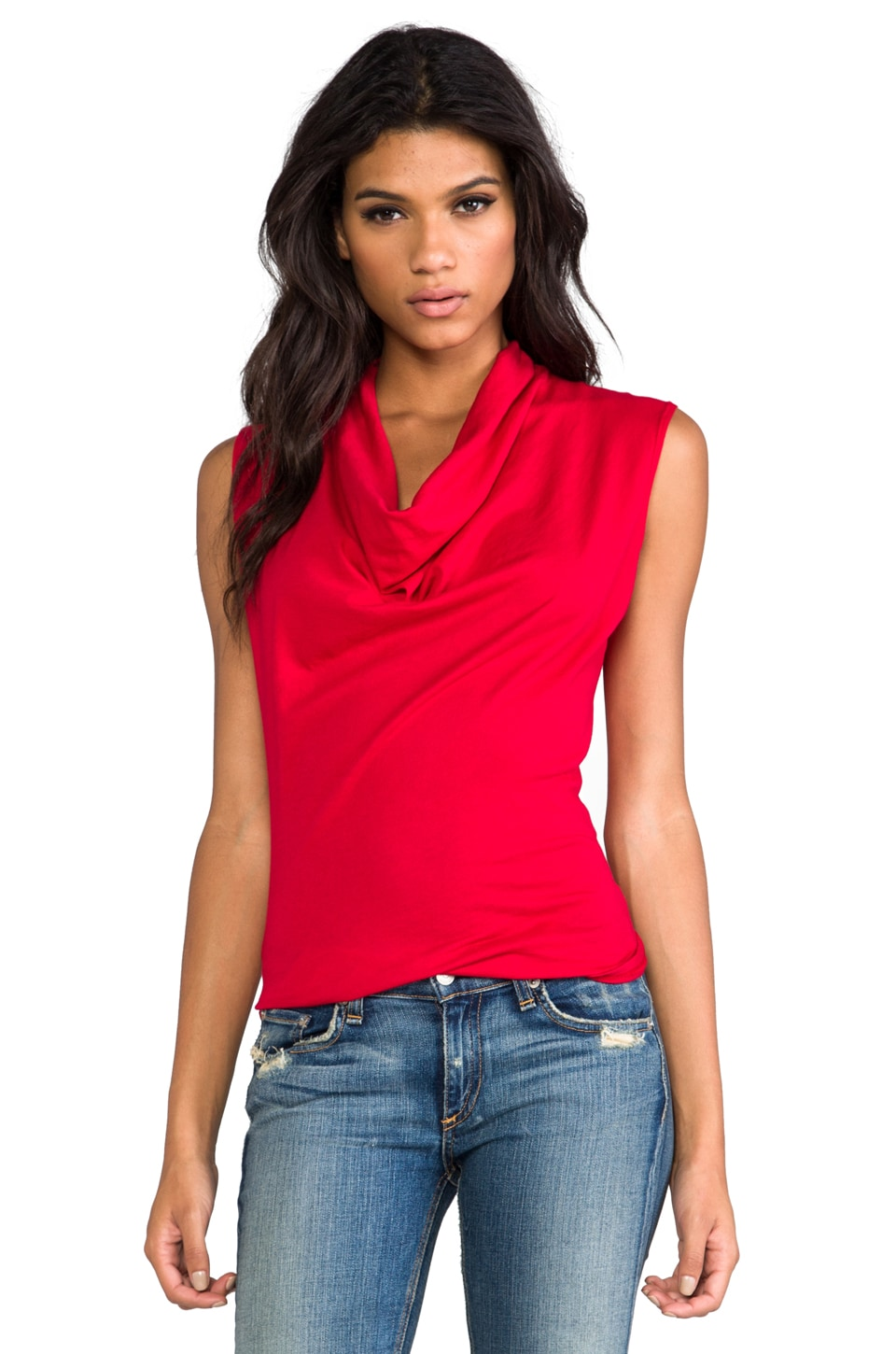 Bobi Light Weight Jersey Drape Neck Tank in in Bella