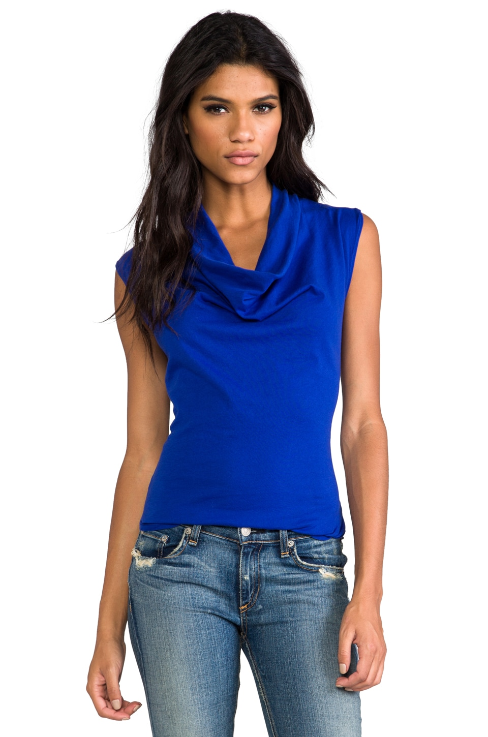 Bobi Light Weight Jersey Drape Neck Tank in Royal
