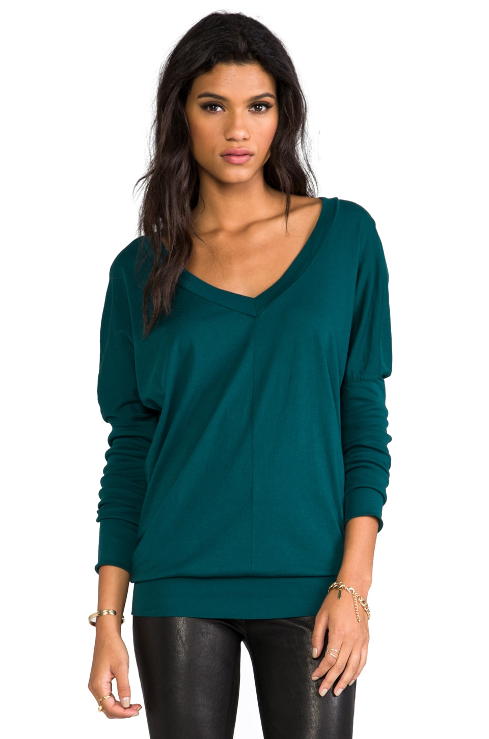 Bobi Light Weight Jersey Slouchy Top in Ivy