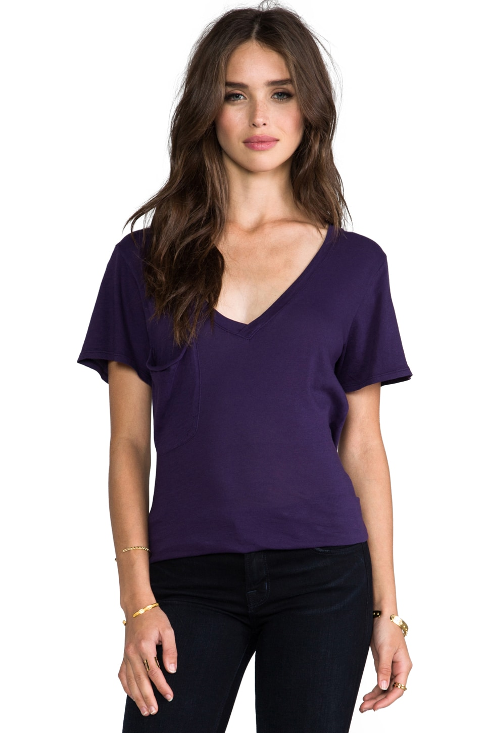 Bobi Light Weight Jersey Pocket Tee in Knight