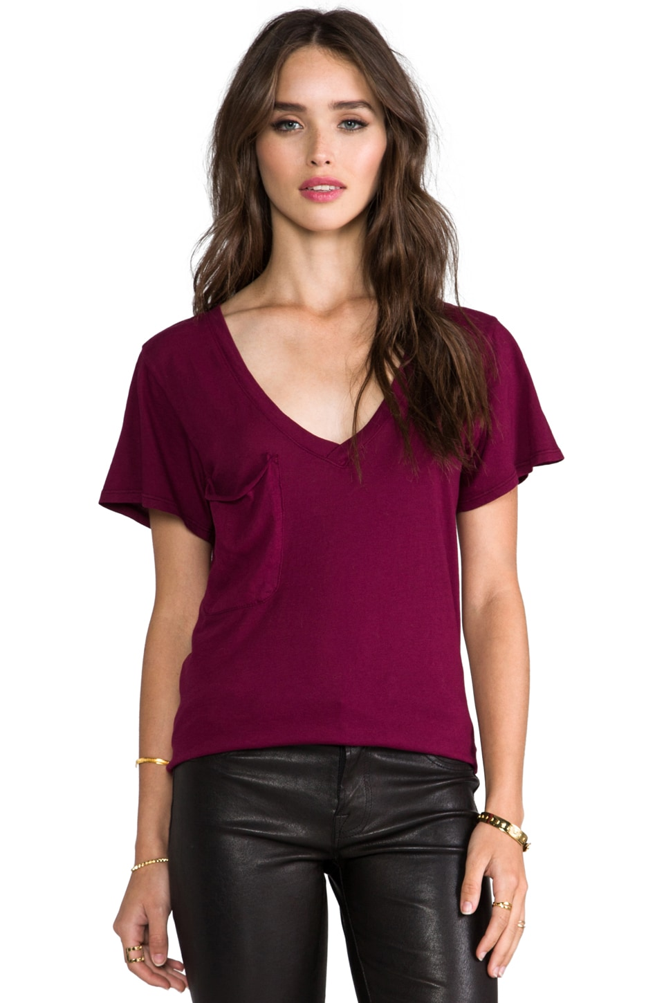 Bobi Light Weight Jersey Pocket Tee in Merlot