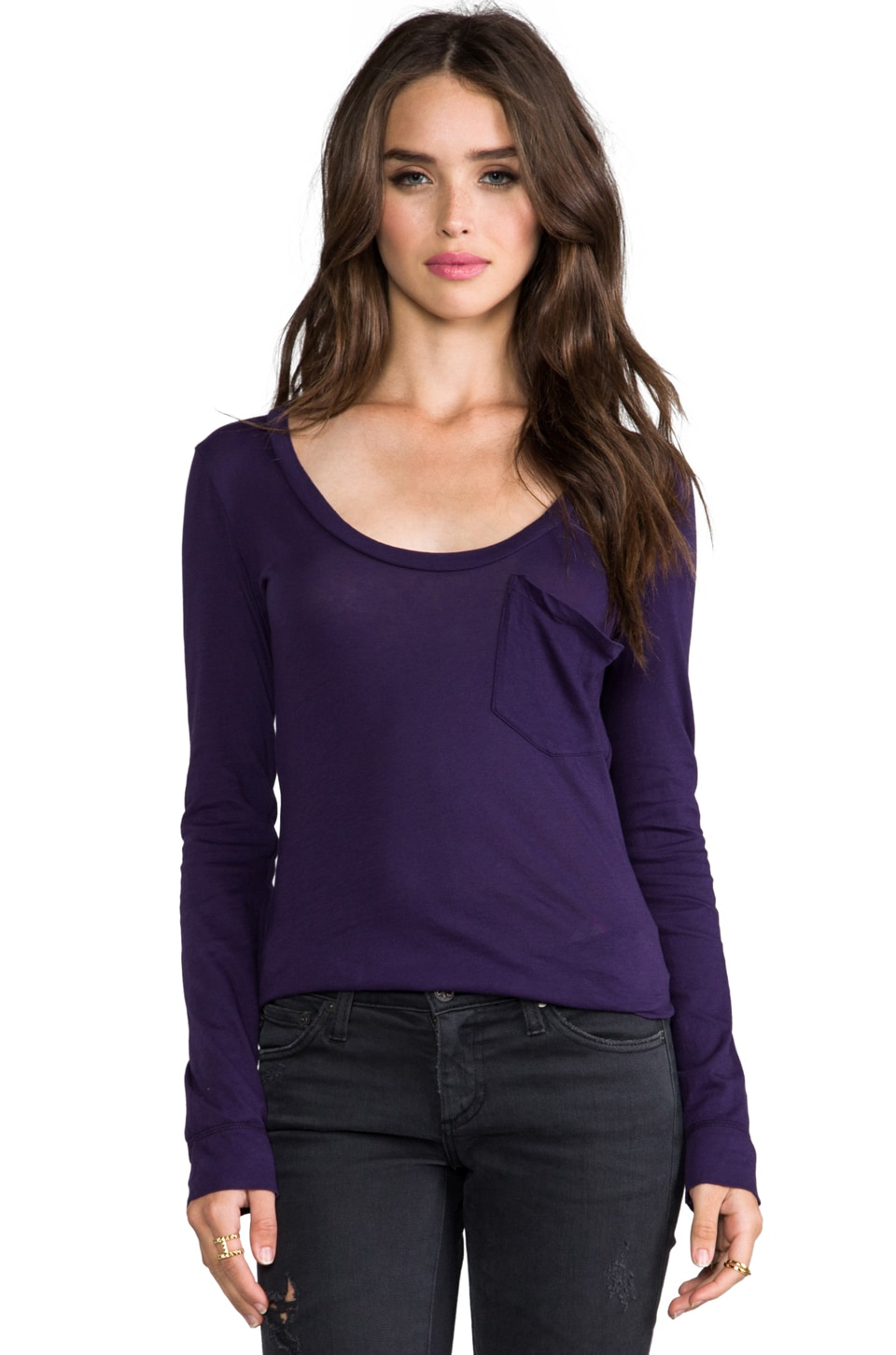 Bobi Light Weight Jersey Long Sleeve Pocket Tee in Knight
