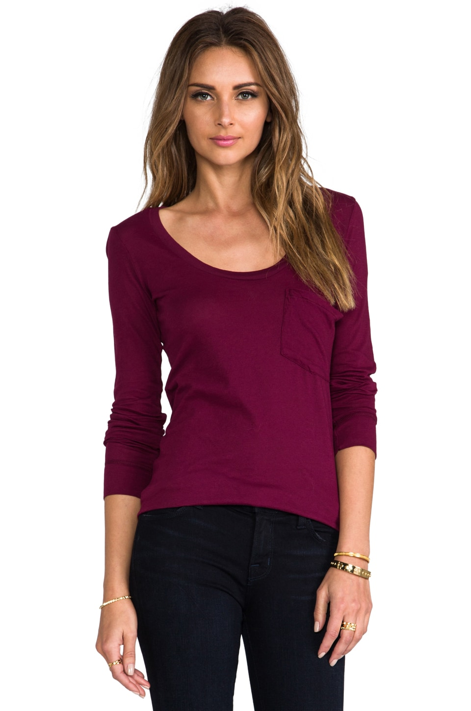 Bobi Light Weight Jersey Long Sleeve Pocket Tee in Merlot