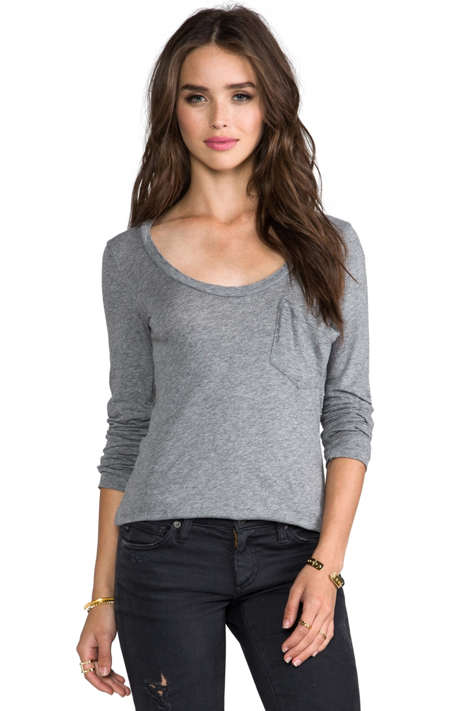 Bobi Light Weight Jersey Long Sleeve Pocket Tee in Thunder