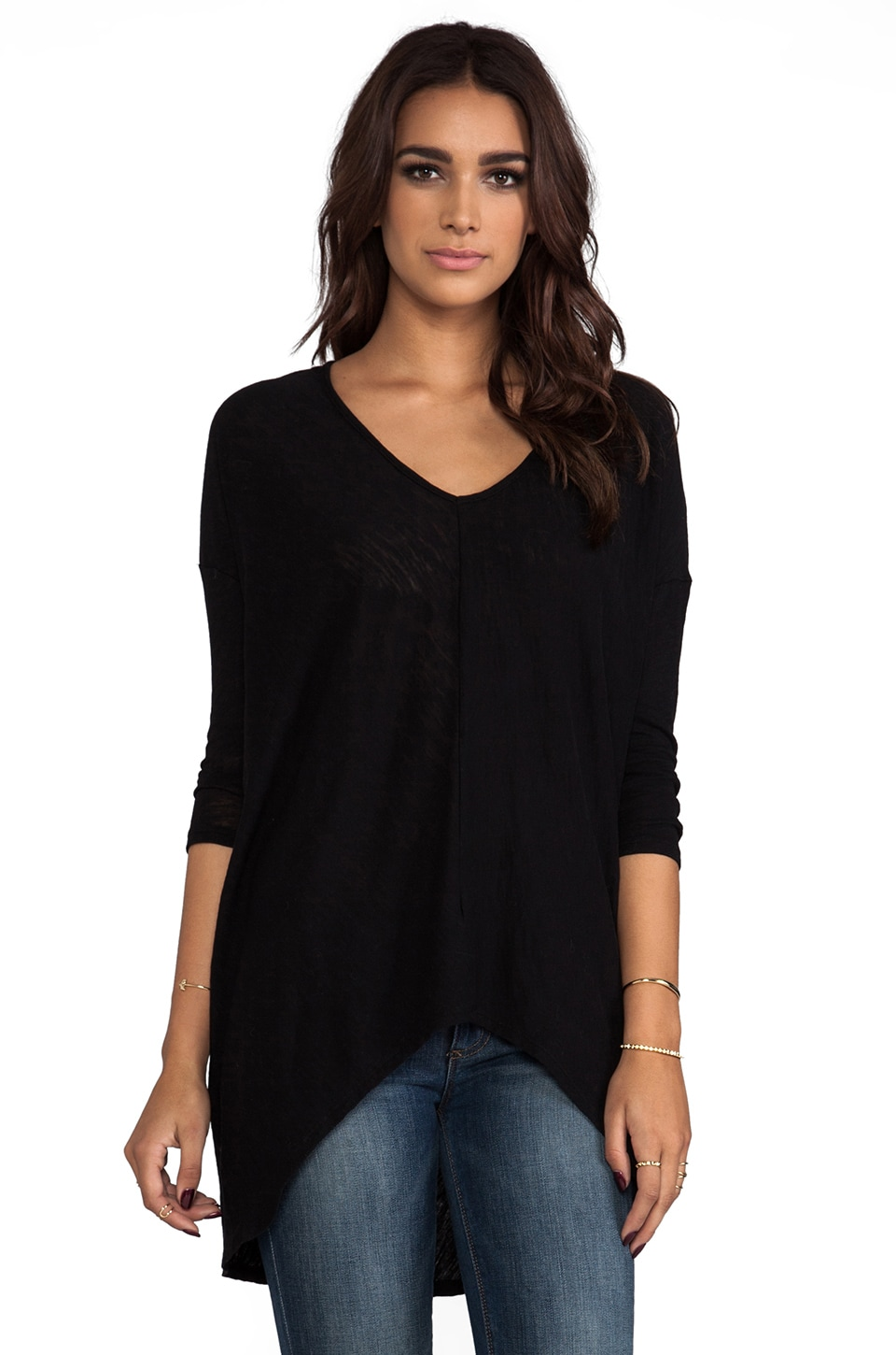 Bobi Long Sleeve Dolman Tee in Black