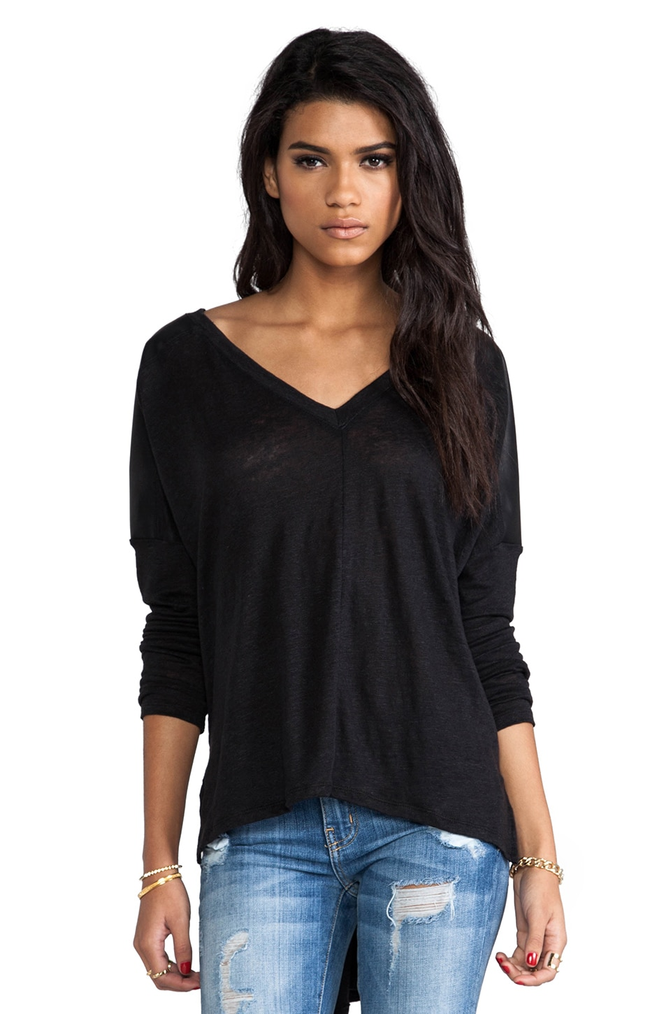 Bobi Linen Long Sleeve with Leather in Black