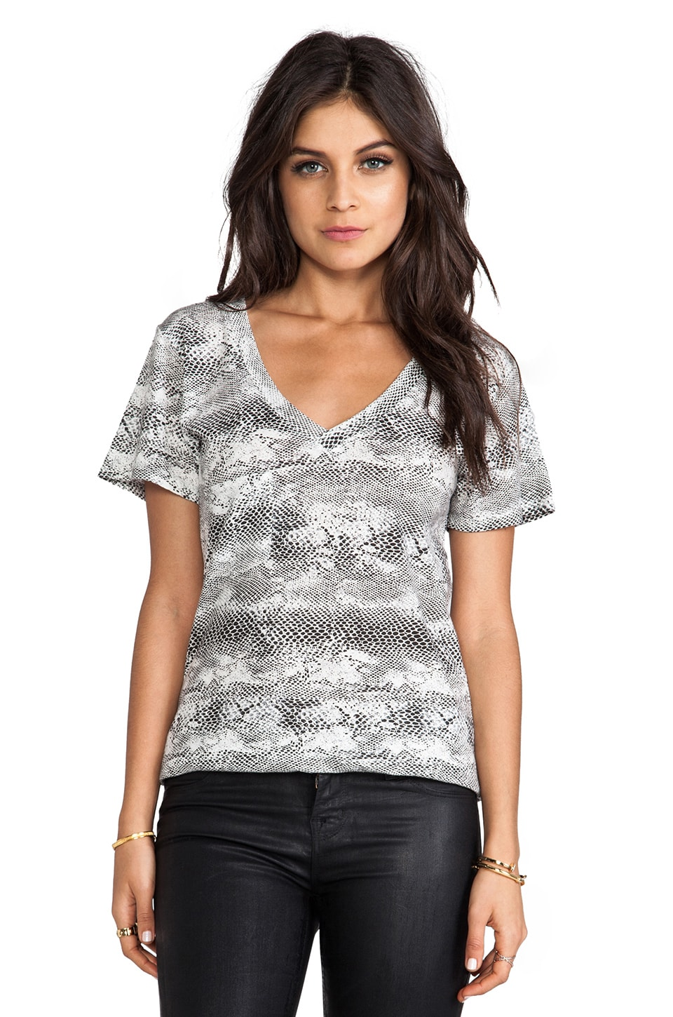 Bobi Snake Print Tee in Grey