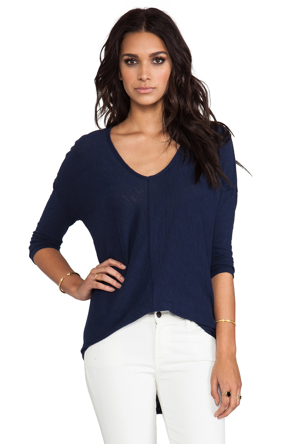Bobi Long Sleeve Dolman Tee in Marina