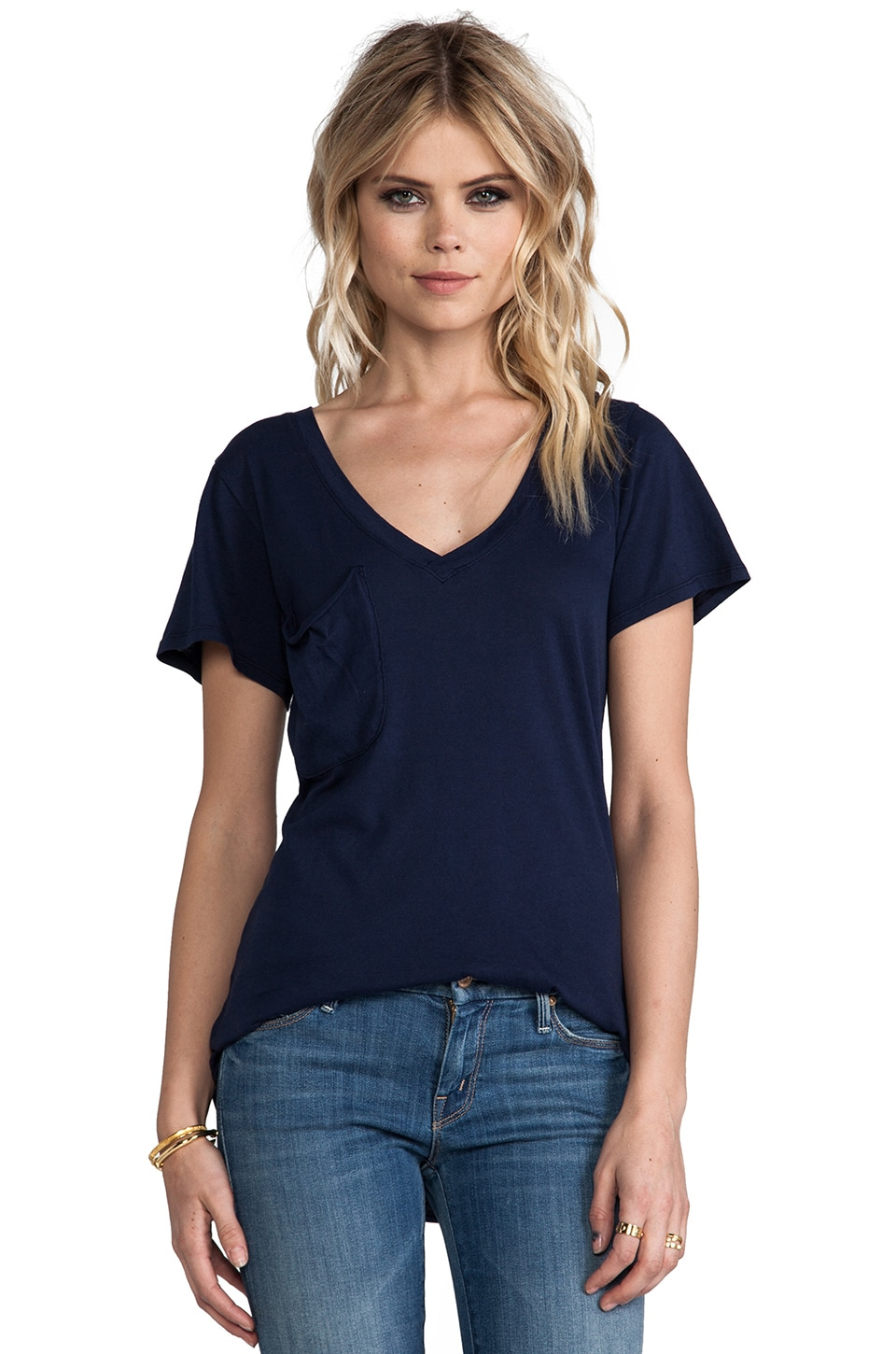 Bobi Light Weight Jersey V Neck Pocket Tee in Marina