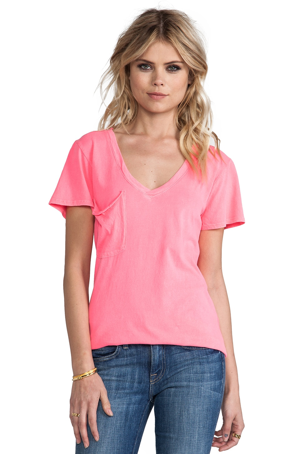 Bobi Light Weight Jersey V Neck Pocket Tee in Neon Candy