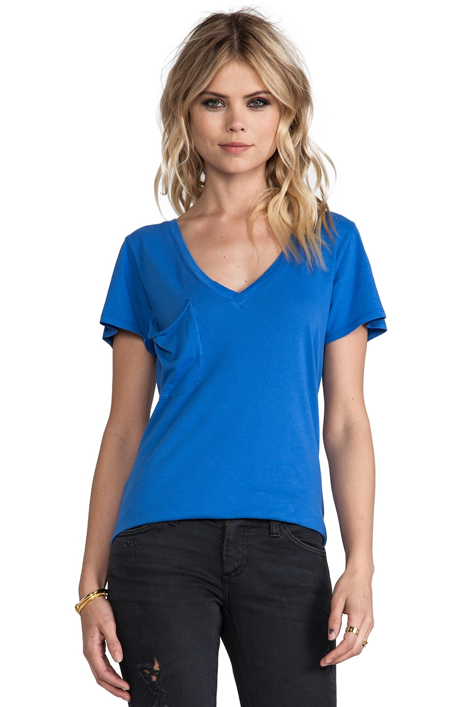Bobi Light Weight Jersey V Neck Pocket Tee in Nitrogen