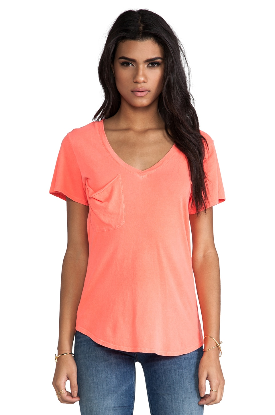 Bobi Light Weight Jersey V Neck Pocket Tee in Tetra