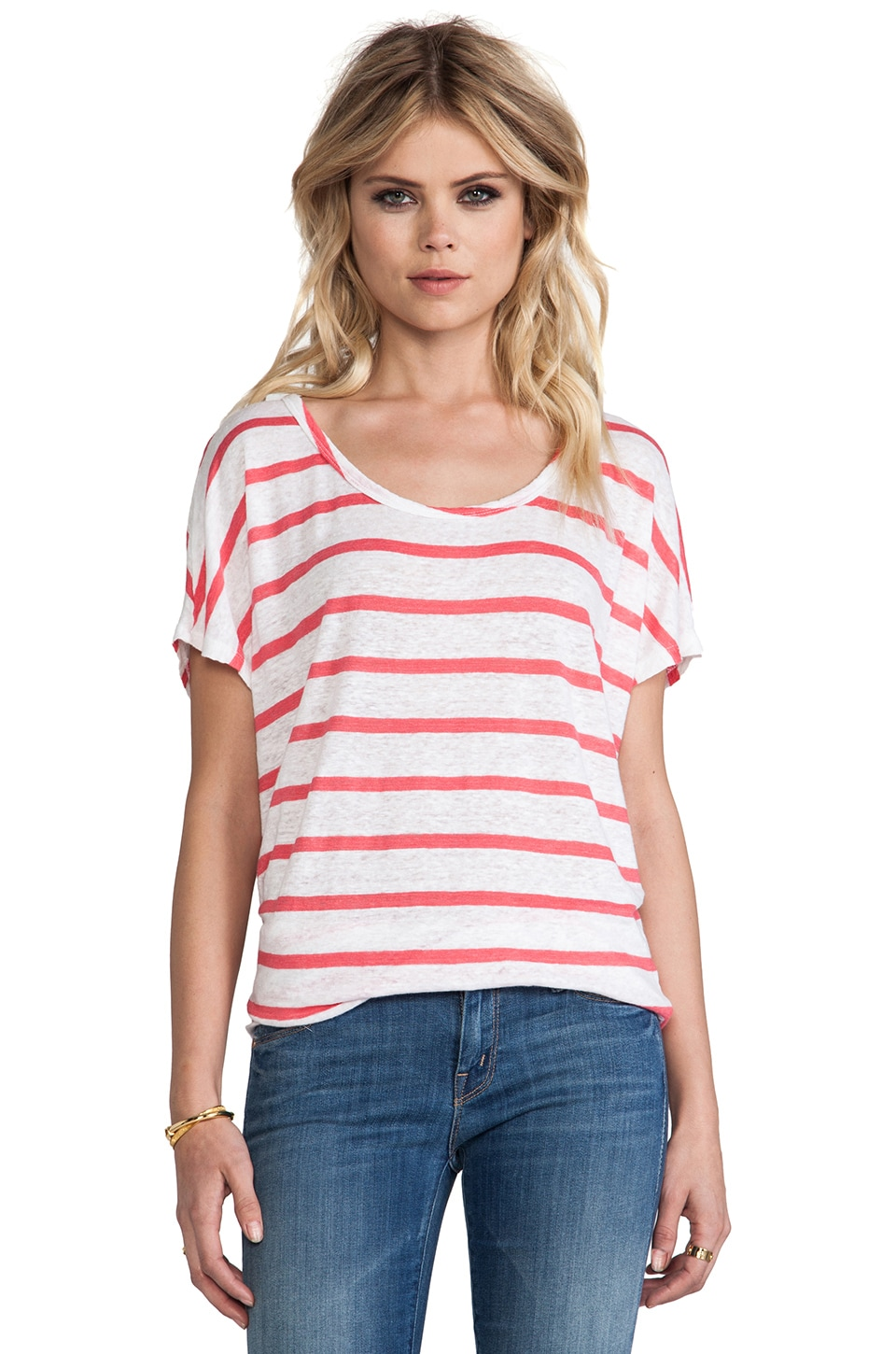 Bobi Linen Stripe Tee in Neon Candy & White