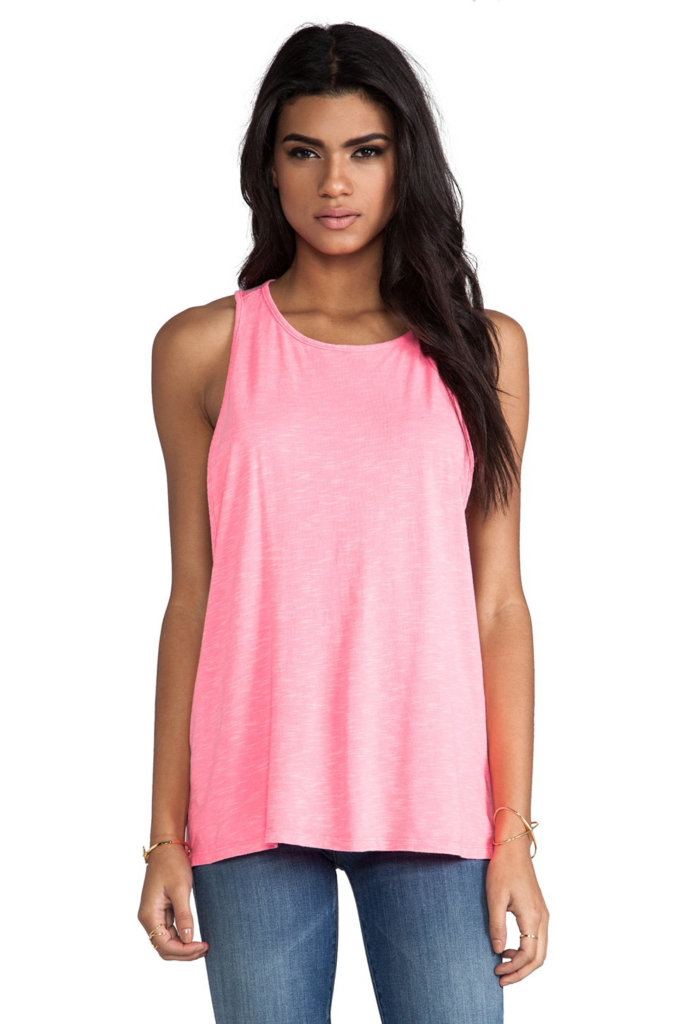 Bobi Slub Muscle Tank in Neon Candy