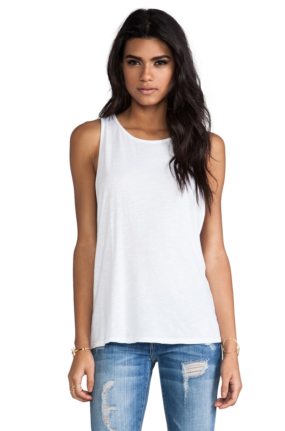 Bobi Slub Muscle Tank in White