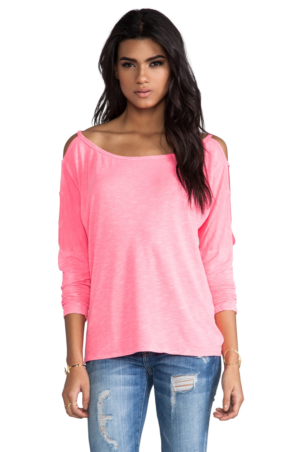 Bobi Slub Long Sleeve Tee in Neon Candy