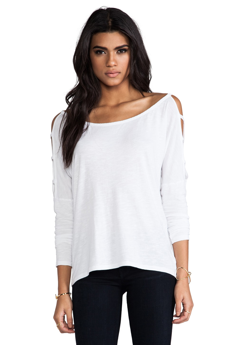 Bobi Slub Long Sleeve Tee in White