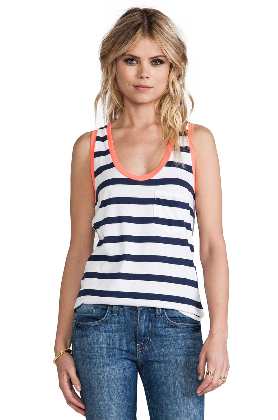 Bobi Light Weight Jersey Stripe Tank in Marina & White & Tetra