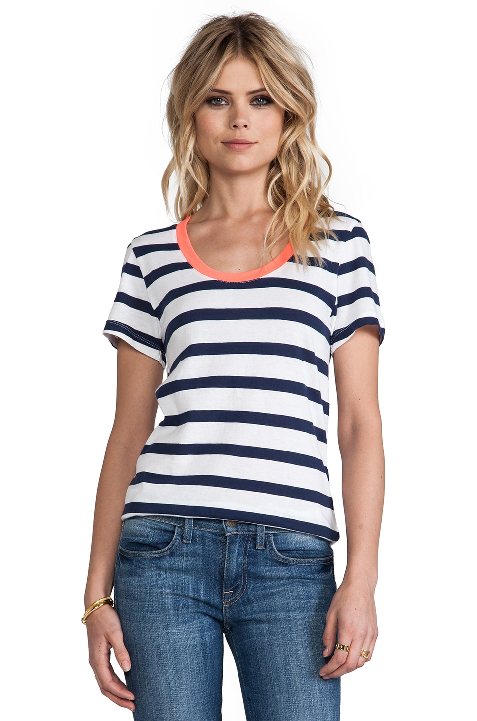 Bobi Light Weight Jersey Stripe Tee in Marina & White & Tetra