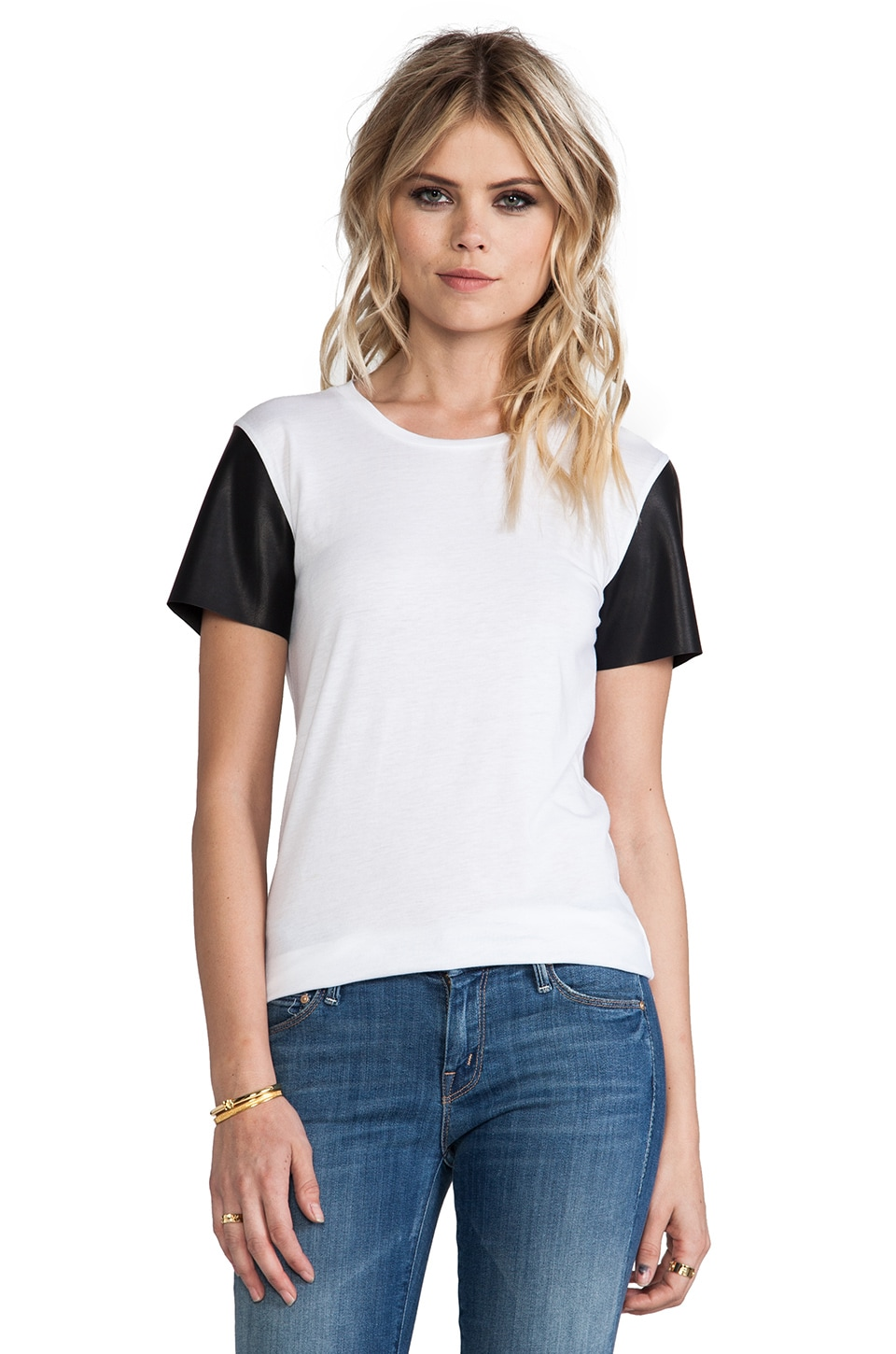 Bobi Jersey Short Sleeve Tee with Leather in White