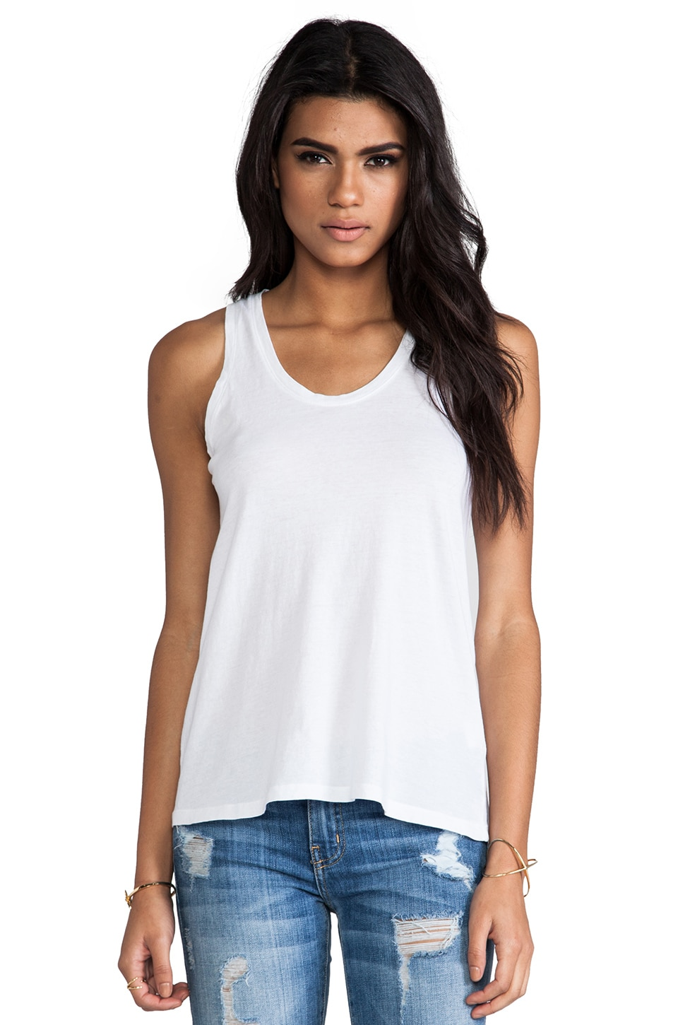 Bobi Light Weight Jersey Tank in White